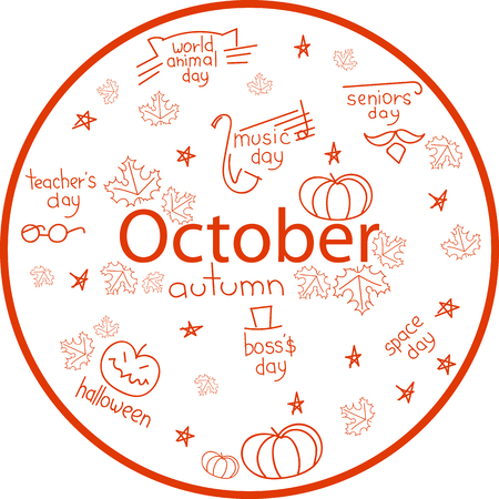 the month of October. holiday dates Иллюстрация