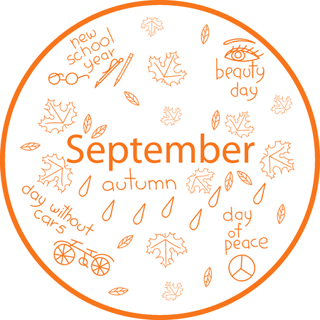 the month of September. holiday dates Illustration