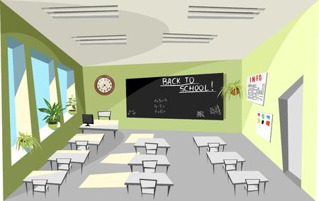 Interior of a school classroom.