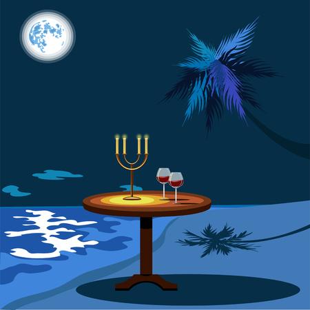 night dinner on the beach Illustration