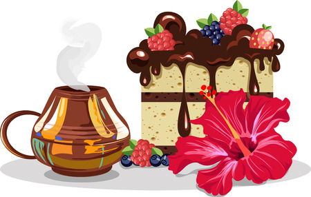 Coffee and chocolate cake presentation with flower on the background