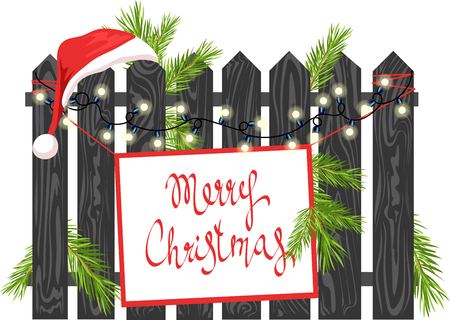Christmas glowing wooden signboard with spruce garland and decorative balls Illustration