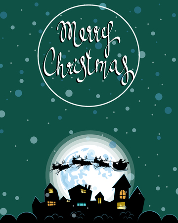 Christmas evening landscape of the city Vector illustration.