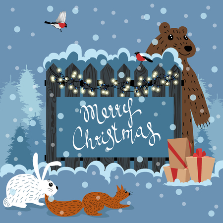 Forest animals celebrate Christmas Vettoriali