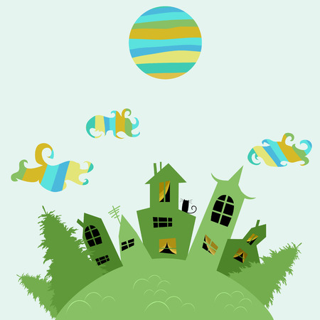 Green city with colorful moon illustration.