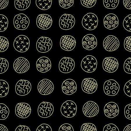 Abstract circles seamless pattern on a black background.