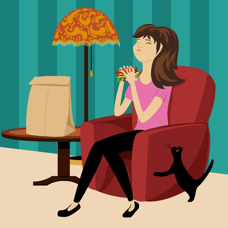 Girl eating a hamburger icon. Illustration