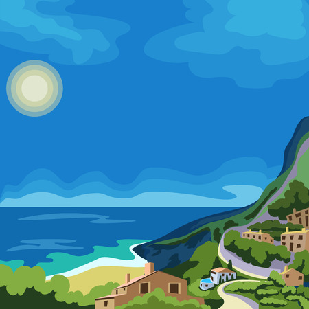 Resort town by the sea. Illustration
