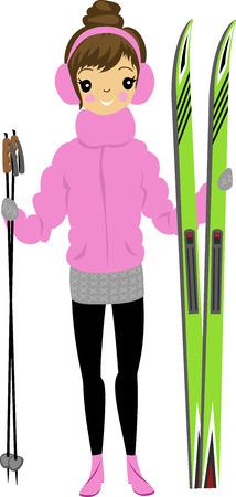 Girl illustration of skier.