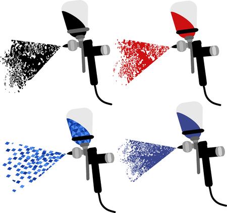 Spray gun to paint cars set illustration. Vectores