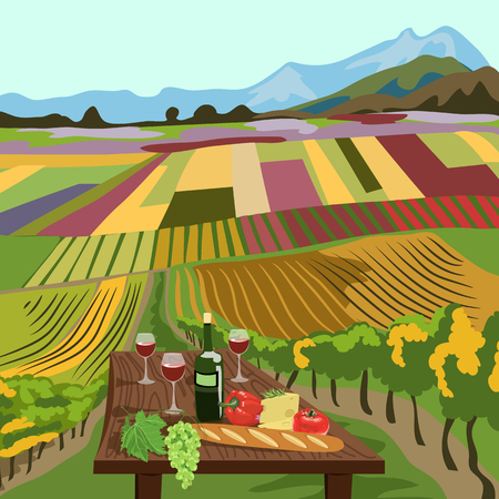Wine bottle and wine glass with colorful land scenery. Illustration