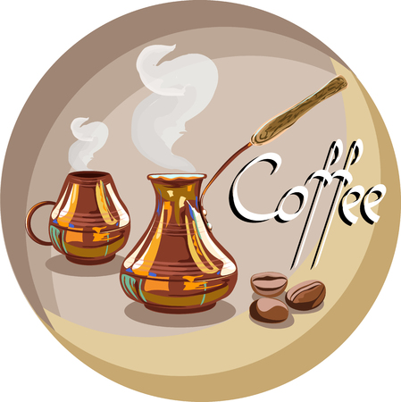 Turk and Cup of coffee in vintage illustration.
