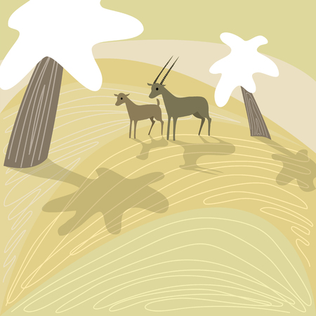 Antelopes in Africa on unique background.