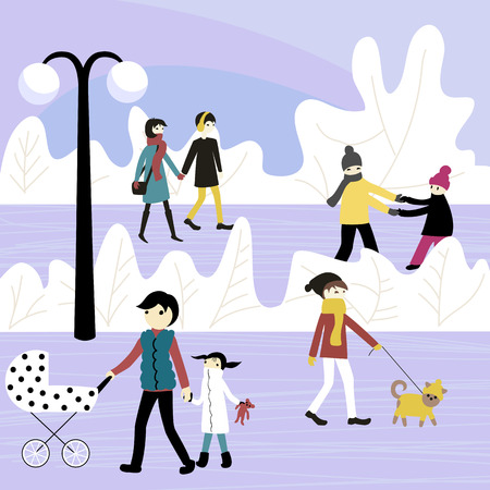 people walk in the Park Illustration
