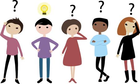 Grupa ludzi myśli Ilustracje wektorowe