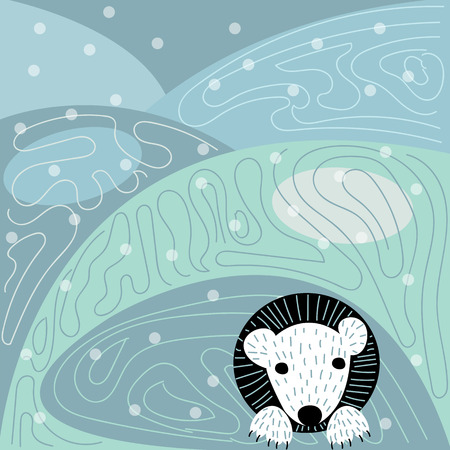 polar bear in the Arctic Illustration