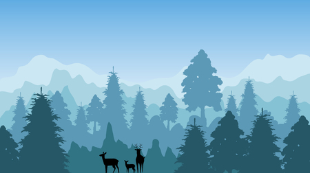 A forest landscape and deer blue background.