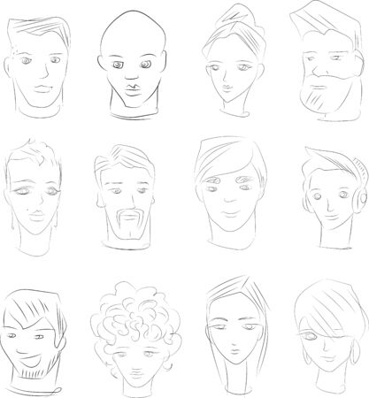 sketches of human faces royalty free cliparts vectors and stock