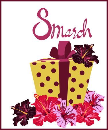 flowers and a gift on March 8 Illustration