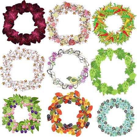 set of festive wreaths