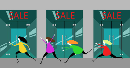 Girls running in the store.  イラスト・ベクター素材