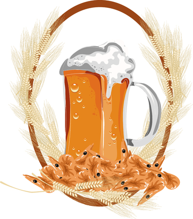 beer and ears of wheat on white background. Vector illustration. Stock Illustratie