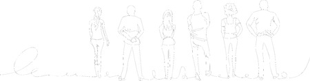 crowd of people. continuous line Vector illustration. Illustration