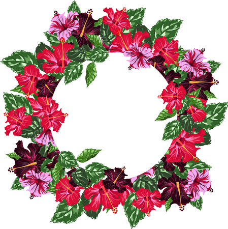 Round frame with red and violet hibiscus.