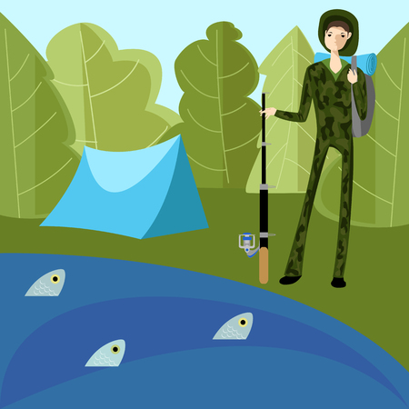 A fisherman in the nature illustration