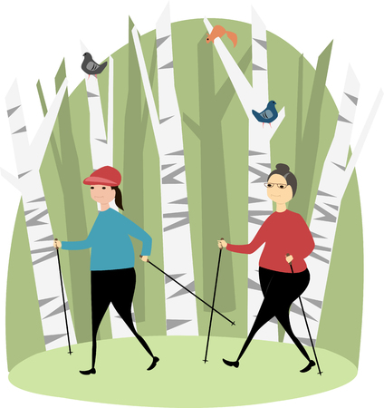 People are engaged in Nordic walking illustration