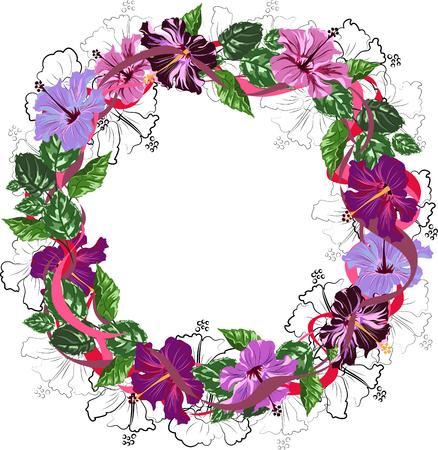 vector wreath of hibiscus