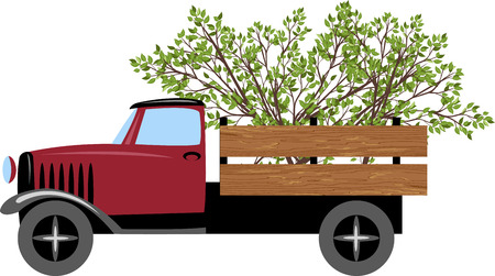 A truck with tree branches. Illustration