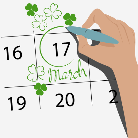 St. Patricks day on the calendar