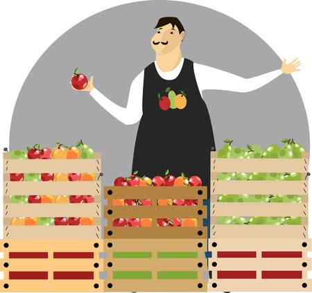 a fruit vendor  vector illustration