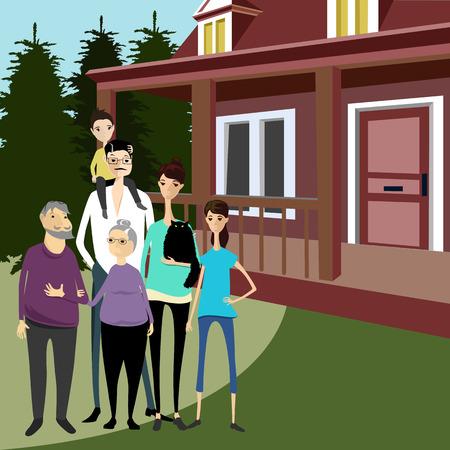 family around the house Illustration
