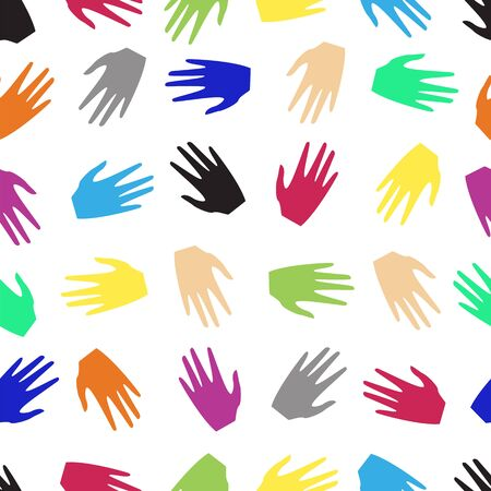 colored hands of people. seamless pattern Vector illustration.