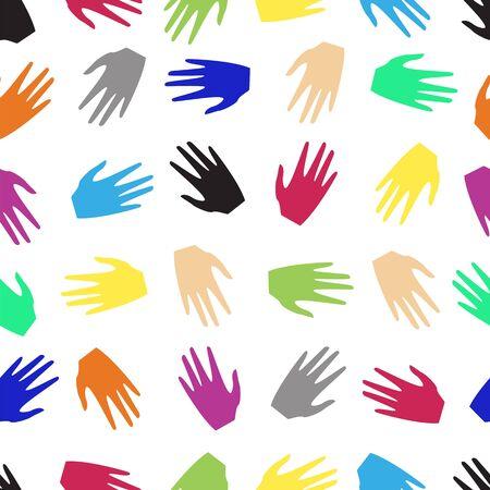 mani colorate di persone. modello senza saldatura illustrazione vettoriale.