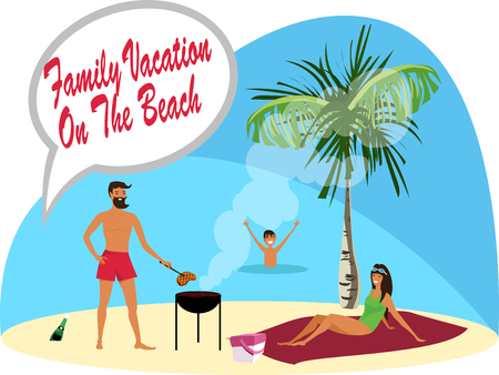 Family vacation by the sea. Vector illustration