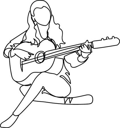 Girl with a guitar, single line drawing.