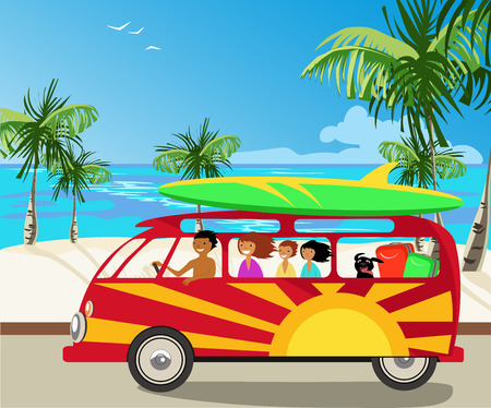 family voyage by car Vector illustration.