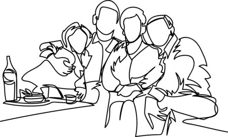 a family one line drawing.