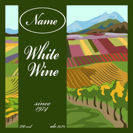 White wine label with landscape illustration