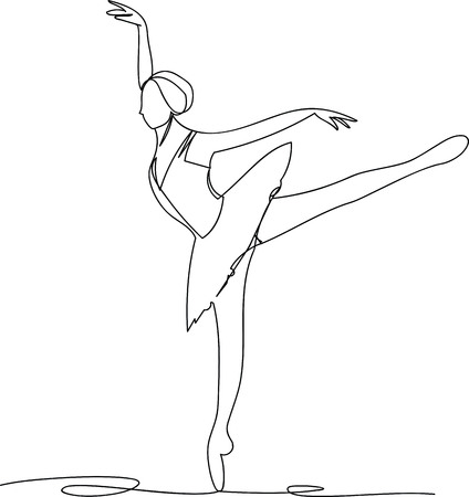 Ballerina dancing. one line