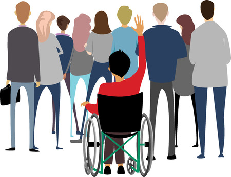 Crowd and a man in a wheelchair