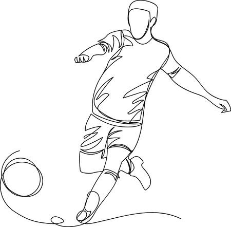 football player. one line Illustration