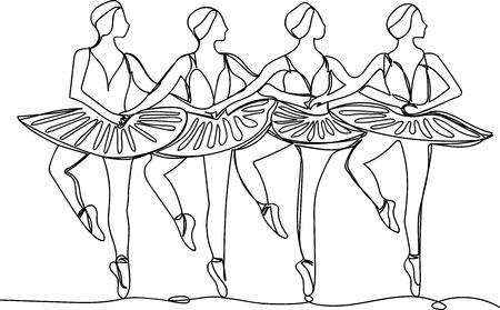four ballerinas in the dance of little swans Illustration