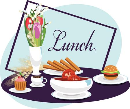 lunch. vector illustration