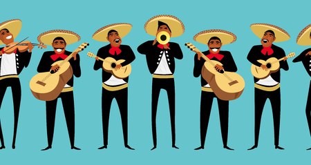 Mexican musicians. seamless pattern Illustration