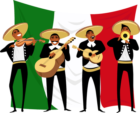 Mexican musicians. vector illustration Иллюстрация