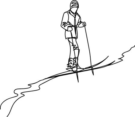 man on skis. one line Illustration